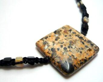 Handmade micro macrame jasper gemstone choker necklace