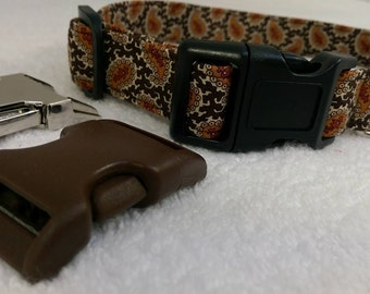 Male Dog Collar Handmade in the UK Brown Paisley Patterned Dog Collar With a Contrasting Strong Black Buckle.