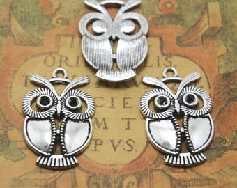 12pcs Owl Charm silver tone owls Charms Pendants,owl connectors 34x22mm ASD0817