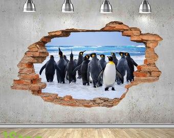 Penguin Porthole Wall Sticker 3d Look - Ocean Sea Tropical Fish Window Decal   Z428