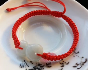 Lucky Chinese Red String Bracelet with Chinese Zodiac Jade Bead (Snake)