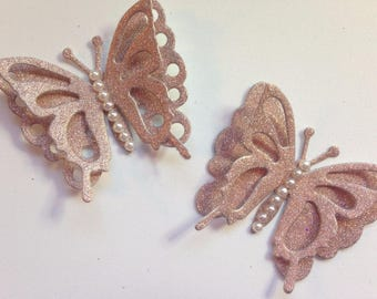 Handcrafted Delicate 3D Rose Gold Butterfly Embellishments X 6