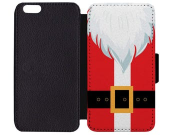 Christmas Santa Claus Kris Kringle Suit Coat Ho Ho Ho Festive Holiday Leather Wallet Flip Phone Case Cover Apple iPhone 5 5S 6 6S 7 Plus