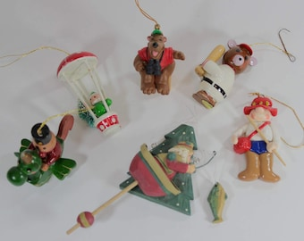 SALE - Set of 6 Vintage Wood and Resin Ornaments from the 1990's