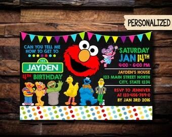 Elmo Invitation / Elmo Birthday Invitation / Elmo Party Invitation / Sesame Street Invitation / Birthday Invitation / Invitation / NR