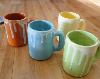 Ceramic Cup Set / Handmade Coffee Cup Set / Pottery Mugs / Spring Decor / Multicolored Cups