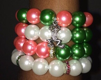 Green and Pink with pearls glass beads bracelets