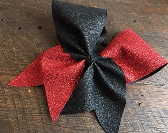 Red and Black glitter cheer bow, team colors cheer bow