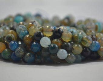 10 mm faceted warm summer color mix agate gemstone