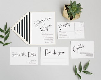 Black and White Wedding Invitation - Simple Modern Wedding Invite - Minimal Chic Wedding Stationery