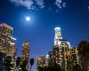 Photograph - Downtown LA - Los Angeles - Long Exposure - Moon - City Lights - Night Shot