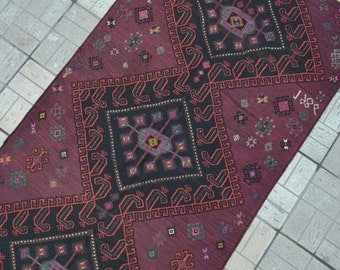 Vintage Purple Kilim rug. Turkish kilim rug. Turkish carpet. Free shipping. 7.4 x 4.1 feet.