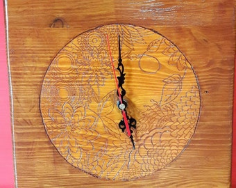 Decorative clock, hand carved
