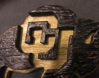 Colorado buffaloes wood art, cu buffs, cu wall art, university of Colorado, cu buffs wall art, wood cu buffaloes sign, cu decor, cu wood art