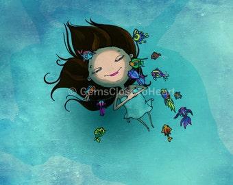 Nursery art print, girl illustration, girl print, kids room decor, wall art, gift for her, girl art, wall decor, beach decor