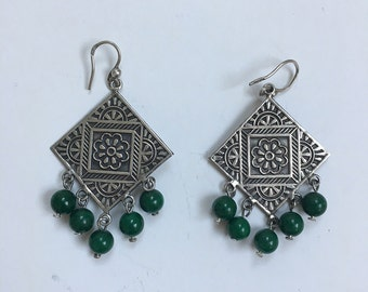 silver earrings with green bells, Egyptian jewellery, ethnic jewellery