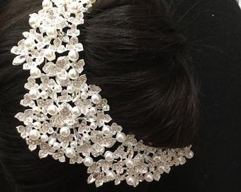 wedding hair piece comb pearl, bride hairpiece, side, back hairpiece, around the bun