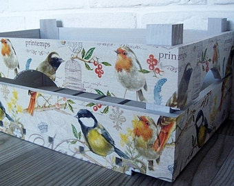 WOODEN CRATE BIRDS, handmade wooden crate, wooden storage boxes, gift ideas, home decorations, decoupage crate, personalized crate
