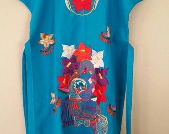 Blue Mexican Embroidered Dress Free Shipping