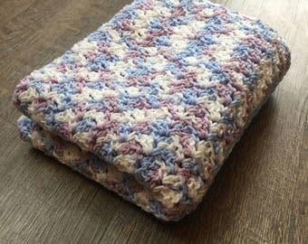 Purple, Blue, White Baby Blanket - Crochet