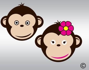 Monkey svg, Monkey clipart, Monkey face svg, Birthday monkey svg,  SVG Files, Cricut, Cameo, Cut file, Clipart, Svg, DXF, Png, Pdf, Eps
