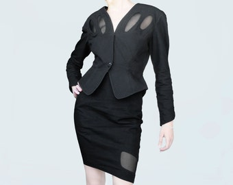"Vintage Thierry Mugler ""Activ""  Black  Jacket & skirt suit, 80's, linen, cotton, Made in Italy, Size-S"