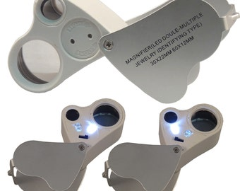 60X 30X Magnifier Loop Magnifying Glass Jeweler Eye Loupe Lens LED Light 2 in 1
