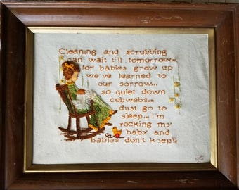 Vintage crewel, nursery, quote