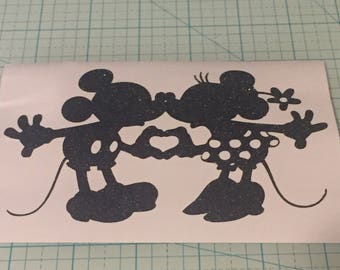 Glitter Mickey and Minnie Mouse Vinyl Decal