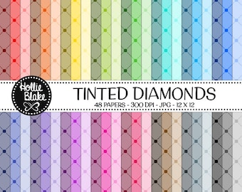 Buy 1 Get 1 Free!! 48 Tinted Diamonds Digital Paper • Rainbow Digital Paper • Commercial Use • Instant Download • #DIAMONDS-128-1-TINT