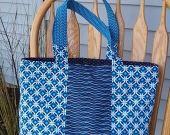 Tote Bag, Handbag, Beach Bag, Diaper Bag, School Bag, Purse, Blue Handbag