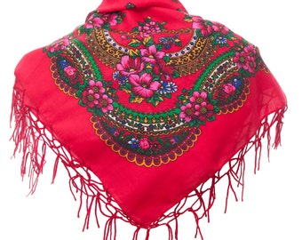 RED folk SCARF shawl with flowers and fringes POLAND scarves fashion colors