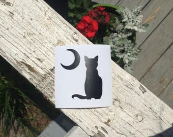 Cat & Moon Vinyl Decal - Cat Decal
