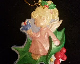 Vintage Sitting Angel Christmas Ornament - Hand Painted
