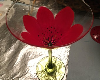 Red flower martini glass