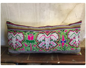 Tribal White Thai textile woolen cotton pillow cover in the Centre of Vietnam