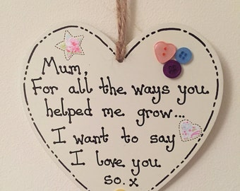 Personalised Wooden Heart Plaque, Mother's Day, Mum's Birthday, Mother's Day Gift