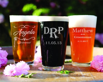 7 Custom Pint Beer Glasses - Groomsman - Husband - Best Man - Gifts for Dad - Home Bar Gift - Barware - Personalized Glasses - Wedding Party