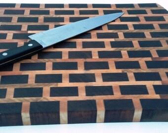 Brickwall Walnut and Maple end grain cutting board