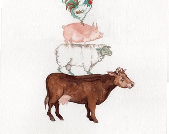 Whimsical Farm Animals-PRINT