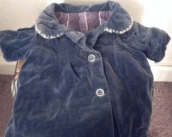 Vintage Velvet Doll Coat Silk Lined 50s Baby Clothes