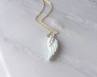 Angel Wing Opal Necklace, Angel Wing, Angel Wing Necklace, Angel Wing Jewelry