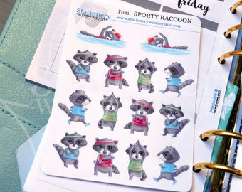 Sporty raccoons functional stickers for planners - Yoga stickers, gym stickers, running stickers, squats stickers, swimming stickers