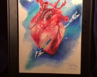 Anatomical Heart with Galaxy Background