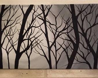 Modern, shadow, gnarly tree, branches, custom, original artwork, home decor, abstract, modern art, canvas