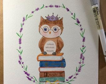 original watercolour painting, owl on books