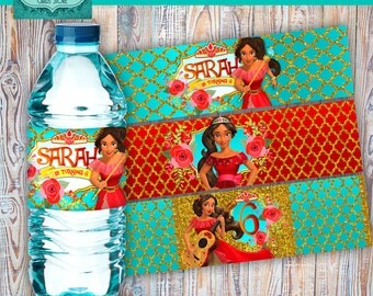 Elena of avalor digital printable water bottle labels, elena of avalor water bottle labels, elena of avalor birthday, elena of avalor party