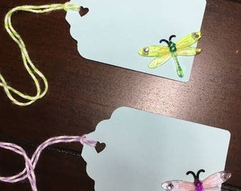 Dragonfly Favor Gift Tags, Favor Tags, Goodie Bag Tags, Dragon Fly Party Theme -9 per order