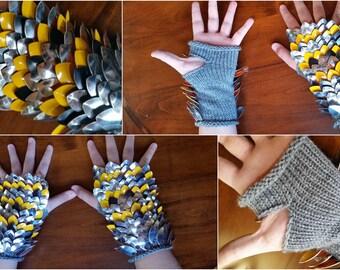 JayeCreations Medium Scalmail Gauntlets - Mirror, Yellow Painted, Black Scales, Gray Yarn - Old Pattern - On Sale