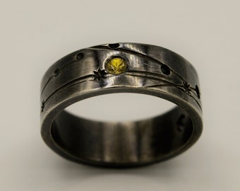 Retrograde ring with Yellow Sapphire
